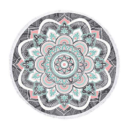 Zeronal Beach Throw Picnic Blanket Yoga Mat Beach Towel Round Tapestry Mandala Wall Hanging Hippie Wall Decor Art Psychedelic Tapestries Purple ()
