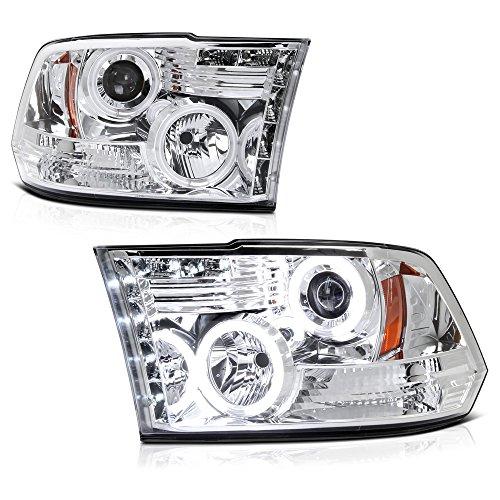 VIPMOTOZ CCFL Halo Ring Chrome Projector Headlight Lamp Assembly For 2009-2018 Dodge RAM 1500 2500 3500 Pickup Truck, Driver & Passenger Side