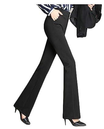 d1174e79f08 Etecredpow Women Plus Size Formal Bootcut Trousers Straight-Leg High Waist  Pants Black XXS