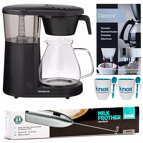 Bonavita BV1901PW Glass Carafe Coffee Brewer with Warming Plate + Free Frother, Mugs and Descaling Powder