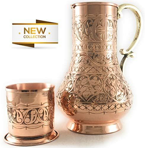 - The Silk Road Trade - KS Series - NEW 2019-45oz Copper Pitcher and 7.7oz Cup Set with Lid, Moscow Mule Water Jug, Ice Tea and Juice Beverage, Desktop/Bedside Night Water Carafe Ayurvedic (Engraved)