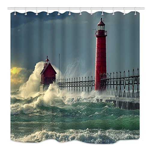 DYNH Ocean Shower Curtain Wave Deccor, Lighthouse and Red House on Sea Wharf, Waterproof Polyester Fabric Bathroom Decor, Bath Curtains Accessories 12PCS Hooks, 69X70 Inches
