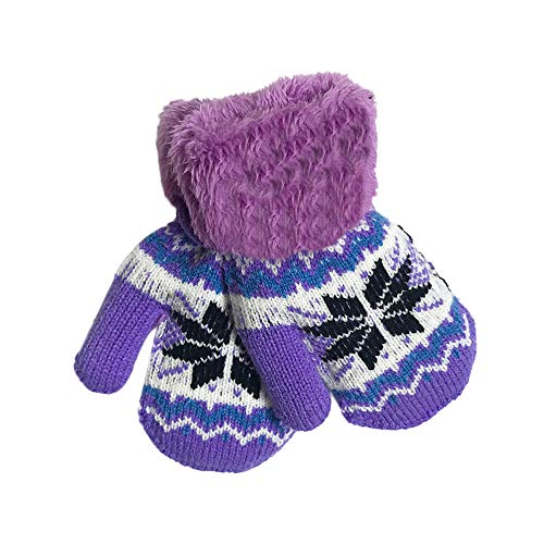 Infant Baby Girls Boys Warm Snowflake Hot Knitted Gloves Thick Fur Liner Mittens Winter Suitable for Children Aged 1 to 4 Years (1-4 Years, Purple)