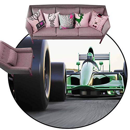 Cute Design Anti-Slip Floor MAT Colorful Cars,Motorized Sports Theme Indy Cars on Asphalt Road with Motion Blur Formula Race,Grey Black Green Diameter 66