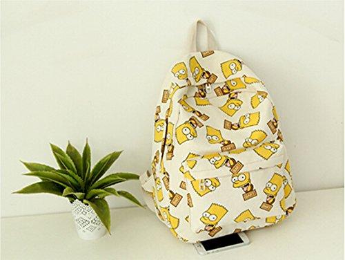 San Tokra Harajuku Teenager Girls Canvas Backpack Cartoon Style Lightweight School Book Bag Casual Travel Daypack Shoulders Bags (Simpsons)