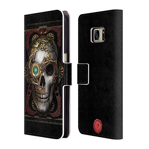 Official Anne Stokes Skull Steampunk Leather Book Wallet Case Cover For Samsung Galaxy - Cover Steampunk