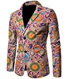 Domple Men's Fashion Button Up Dashiki African Print Pockets Blazer Suit Jackets 1 XL