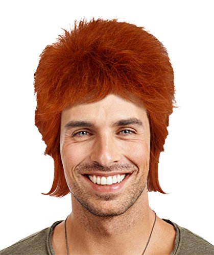 Bowie Ziggy Stardust Costume (Legendary 70's Biritsh Pop Star Wig, Red Adult HM-061)