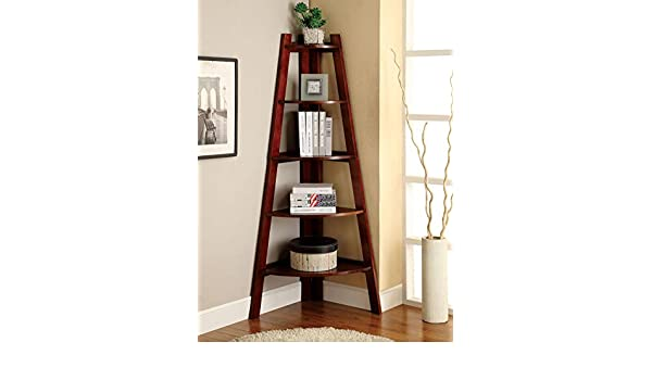 Furniture Of America Andrea 5 Tier Corner Bookshelf Cherry IDF AC6214CH