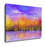 Ashley Canvas, Oil Painting Landscape Colorful Autumn Trees Semi Abstract Image Of Forest, 20x25, AG6259027