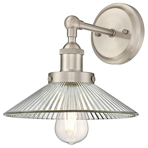 - Westinghouse Lighting 6335800 Lexington One-Light Indoor Wall Fixture, Brushed Nickel Finish with Clear Ribbed Glass, 1 Sconce