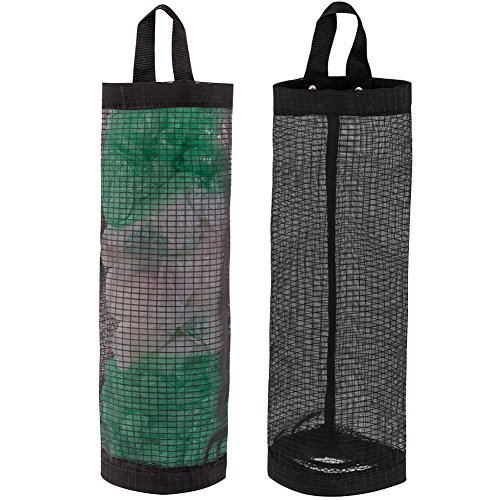 LINEVI Bag Holder for Plastic Bags, 2 Pcs Polyester Grocery Bag Holder Plastic Dispenser Foldable Breathable Washable Hanging Mesh Garbage Bag Organizer for Kitchen Plastic Bag Storage (Black)
