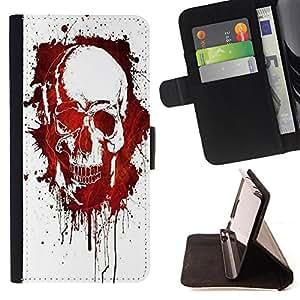 Jordan Colourful Shop -Skull Devil Pattern Sugar Skull Skulls -- Leather Case Absorci¨®n cubierta de la caja de alto impacto FOR Samsung Galaxy S6 G9200 ---