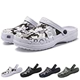 PHILDA Men's Camouflage Garden Clog Water Shoes Lightweight Slippers Anti-Slip Rubber Indoor Outdoor Mules Quick Drying Non Slip White camo 42