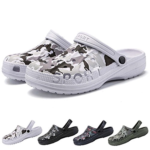 PHILDA Men's Camouflage Garden Clog Water Shoes Lightweight Slippers Anti-Slip Rubber Indoor Outdoor Mules Quick Drying Non Slip White camo 42 by PHILDA