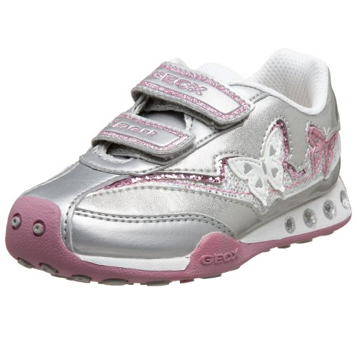 Geox Toddler Jocker Girl Shoe,Silver/Pink,21 EU (5.5 M US Toddler)
