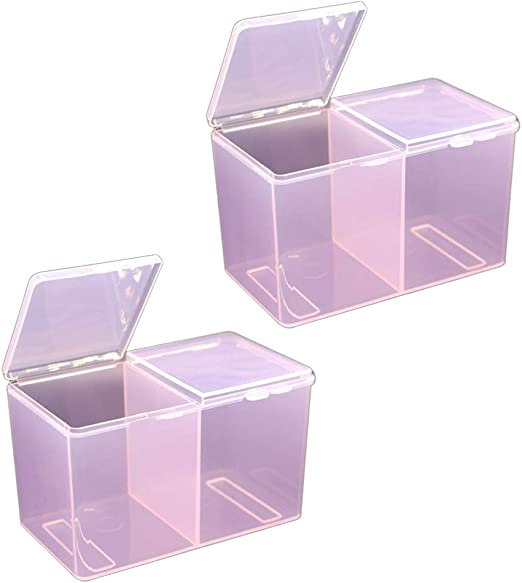 Lurrose - 2 Cajas de algodón para Maquillaje, Transparentes ...