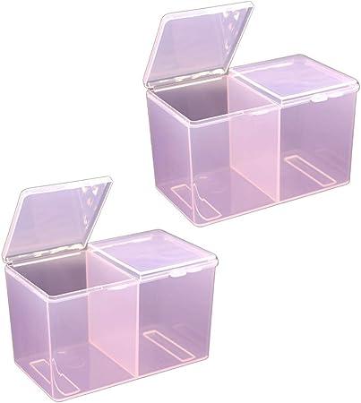 Lurrose - 2 Cajas de algodón para Maquillaje, Transparentes, acrílico, algodón, con Tapa, dispensador de Almohadillas de algodón, Organizador de acrílico, plástico, Rosa, 12 * 6.5cm: Amazon.es: Hogar