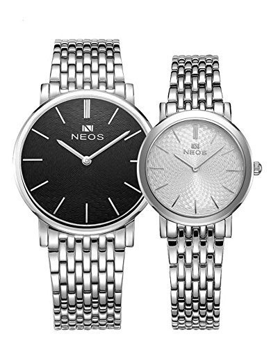 Couple Watches Ultra Slim Morie Dial Stainless Steel Band Quartz Waterproof Wristwatch For Her His Black by Neos
