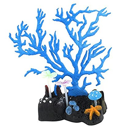 Amazon.com : eDealMax silicona TPR acuario de neón Coral Artificial Decoración Azul 16 cm de Alto : Pet Supplies