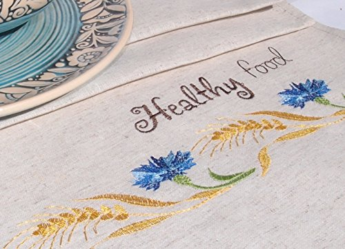 Linen Wedding Anniversary Gift Ideas: H-line Embroidered LINEN Dish Tea Towels. Unique Gift For