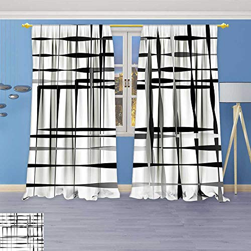 Lab Shine Diamond Collection (Philiphome Antique Decor Collection,Minimalist Image with Simplistic Spaces and Spare Asymmetric Grids Black White,Living Room Bedroom Curtain 2 Panels Set)