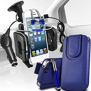Samsung Galaxy Fame S6810 premium protección PU botón magnético ficha de extracción Slip Cord En Pouch Pocket Case rápida cubierta, superior de la calidad de la piel en auriculares de botón estéreo de manos libres de auriculares Auriculares con micrófono Mic y botón de encendido y apagado, Retractable Stylus Pen, 12v Micro Cargador y universal de la succión Vent Carholder del montaje del coche de color azul oscuro por Spyrox