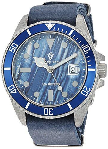 Christian Van Sant Men's 'Montego Vintage' Quartz Stainless Steel and Silicone Casual Watch, Color:Blue (Model: CV5203B)