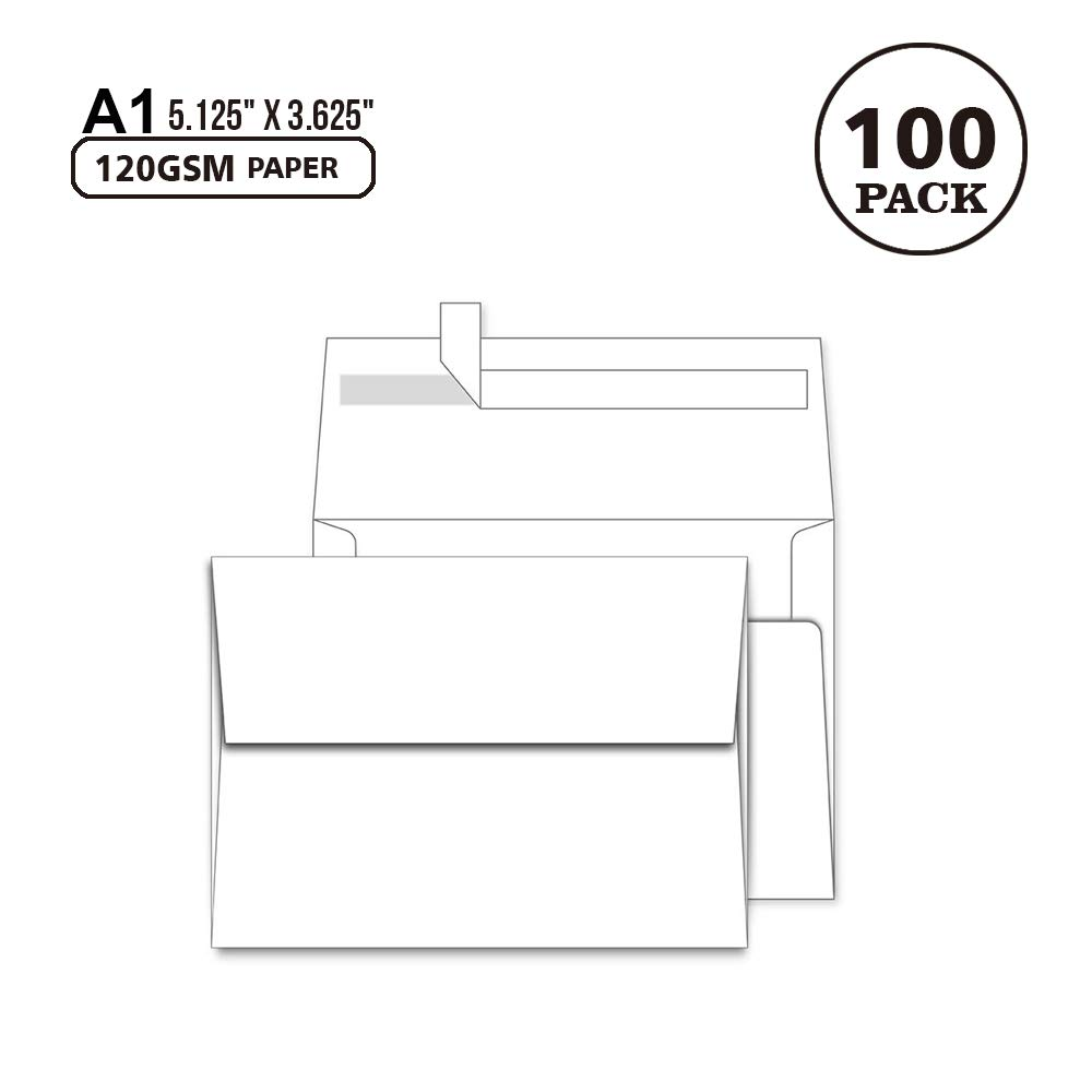 100 Pack White A1 Envelopes -Quick Self Seal - 3.5 x 5 Envelopes, A1 (5.125 x 3.625 Inches)