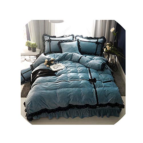 4/6Pcs Crystal Flannel Lace Princess Bedding Set Winter Warm Fleece Bowknot Duvet Cover Set Bed Sheet Queen Size Bed Linen,Ytgj1,Queen Size 6Pcs