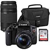 Canon EOS Rebel T6i Wi-Fi Digital SLR Camera & EF-S 18-55mm is STM & 75-300mm III Lens with 100ES Case & 16GB Card