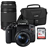 Canon EOS Rebel T6i Wi-Fi Digital SLR Camera & EF-S 18-55mm is STM & 75-300mm III Lens with 100ES Case & 16GB Card For Sale