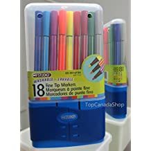 Studio 18 Washable, Lavable Fine Tip Markers. Fine tip colour pens in 18 different colors. 18 Super Tips Washable Markers