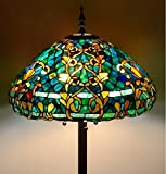 """Tiffany Style Stained Glass Floor Lamp """"Azure Sea"""""""