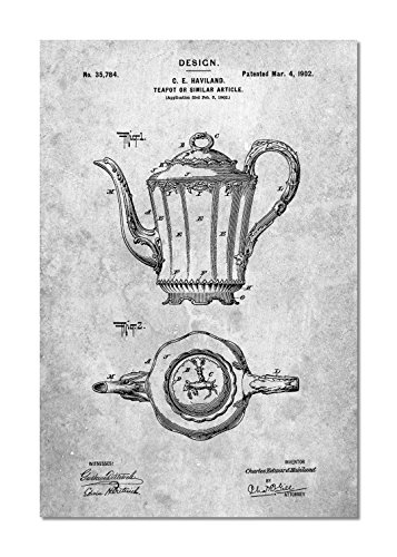 PatentPrints Haviland Limoges Teapot Patent Poster Color Slate Size 8x10