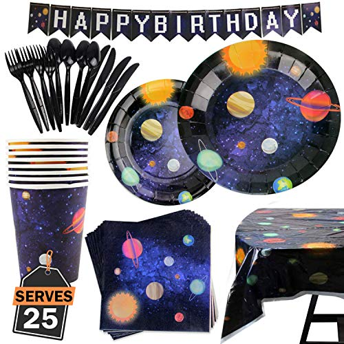 177 Piece Outer Space Party Supplies Set Including Banner, Plates, Cups, Napkins, Tablecloth, Spoon, Fork, and Knives, Serves 25 -