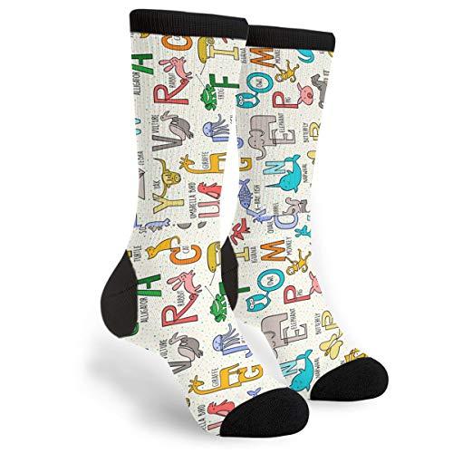NGFF Alpha Animals Horiz Men Women Casual Crazy Funny Athletic Fancy Novelty Graphic Crew Tube Socks Moisture Wicking Gift