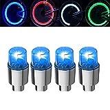 4 pares de luces LED para rueda de bicicleta, para neumáticos de coche, bicicleta, neumático, válvula de neumático, tapón antipolvo, luz LED impermeable para radios, luz de llanta, luz para bicicleta, auto, casquillo de radios de luciérnaga