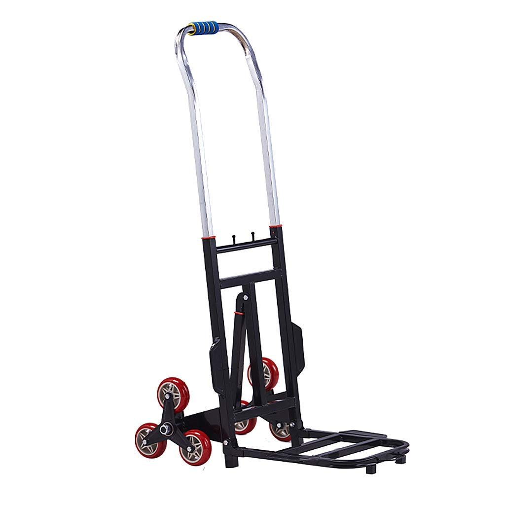 Zehaer Portable Trolley, Portable Folding Hand Truck Stair Climber, 6 Mute Wheels Hand Heavy Duty, Iron Collapsible Household Grocery Cart Utility