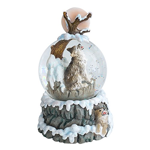 Howling Wolf 100MM Resin Stone 3D Musical Water Globe Plays Tune Born ()