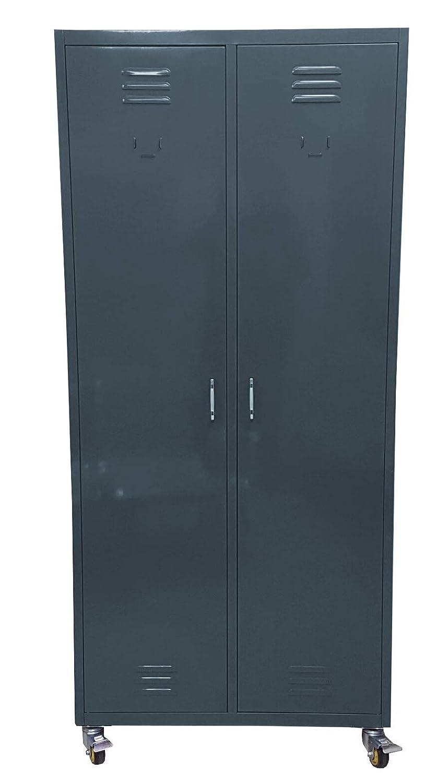 F.T. Armadio Guardaroba spogliatoio in Metallo Speciale Multiuso su Ruote Dim.80x40x180cm Finitura Opaca (Grigio Antracite Opaco)