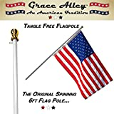 Flag Pole: Tangle Free Spinning Flagpole Residential or Commercial 6ft Flag Pole (White)