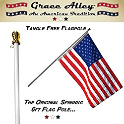 Flag Pole: Tangle Free Spinning Flagpole Residential or Commercial 6ft Flag Pole
