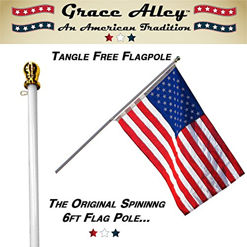 Flag Pole: Tangle Free Spinning Flagpole Residential or Commercial 6ft Flag Pole (White) ()