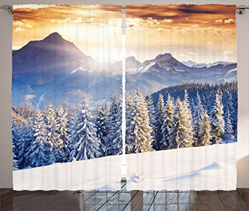 Ambesonne Room Decorations Collection, Winter Wonderland Snowfall Christmas December Fairytale Alp Cold Scenic Print, Living Room Bedroom Curtain 2 Panels Set, 108 X 84 Inches, White Navy (Winter Wonderland Backdrop Ideas)