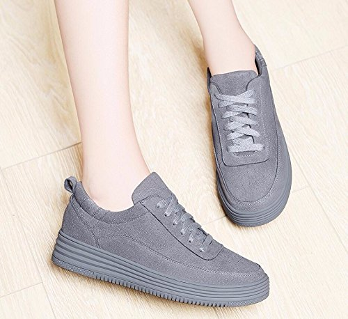 KHSKX-Gray Casual Women Shoes Thick Plate The Spring Tide Shoes Flat Shoes Female Korean Version 35 elTsTtD