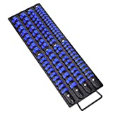 CASOMAN 80-Piece Heavy Duty Socket Organizer Tray, 1/4-Inch, 3/8-Inch, 1/2-Inch,Premium Quality Socket Holders,Black Rails with Blue Clips, Best Unique Tool Gift for Men