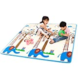 Infant Shining Baby Play Mat Floor XPE Foam Carpet Crawling Pad Living Room Home Mats Large Rug for Children (1802002cm, Elephant and Monkey + Sheep)