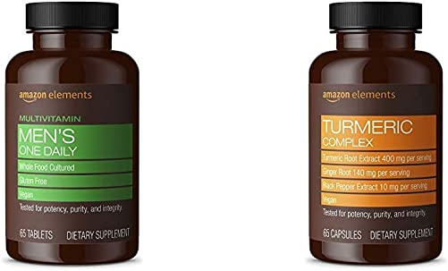 Amazon Elements Men s One Daily Multivitamin, 62 Whole Food Cultured, Vegan, 65 Tablets Turmeric Complex, 400mg Turmeric Curcumin, 140mg Ginger, 10mg Black Pepper, 65 Capsules 2 Month Supply