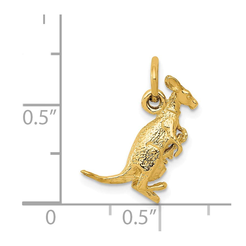 14k Yellow Gold Kangaroo with Joey Charm